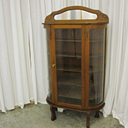 Antique Dark Oak China Curio Hutch w Wavy Glass Adjustable Shelves & Key X-NICE