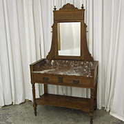 Antique Marble Top Mirrored Vanity Eastlake Style Oak Excellent Condition Beauty