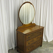 Vintage Maple Wood Art Deco Style Dresser w Large Round Mirror & Spoon Carvings