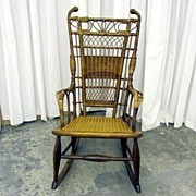 1800s Near Mint Cond Wicker Rocker w Cane Seat and Oak Frame Extra Nice Must See