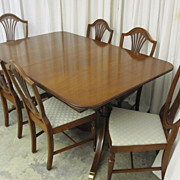 Vintage Mahogany Dining Table w 6 Chairs Hepplewhite/Federal Style XtraNice Cond