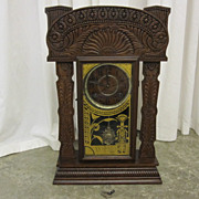 Antique RARE 1800s E Ingraham Co Carved Case Clock Great Working Cond MUST SEE