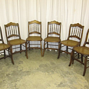 Antique Set of 6 Dark Walnut Dining Chairs w Cane Seats & Spindles Great Cond