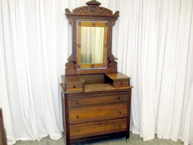 Antique Eastlake Style Dark Walnut Dresser w 2 Glove Boxes & Lamp Shelves NICE