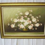 Oil or Acrylic on Canvas Floral Painting in Very Nice Wood Frame Artist Signed