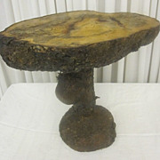 Alaskan Shore Pine Stump Table Natural Cut Rustic Primitive Style Great Cond