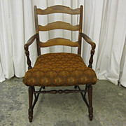 Antique Ladder Back Maple Arm Chair with Fresh Upholstery Early 1900�s Good Cond
