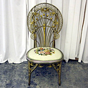 Antique Wicker & Needlepoint Victorian Style Side Chair w Curlicue Scrolls NICE