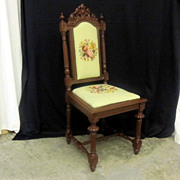 Antique Victorian Style Needlepoint Cushioned Side Chair Great Condition c1913