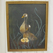 Vintage Signed Oil or Acrylic Painting of Geese on Canvas w Wood Frame Wildlife