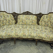 Antique Rococo Revival Style 1912 Sofa w Button Tuft Upholstery & Rosewood Frame