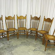 Set of 6 Antique American Empire Style Chairs Dark Oak Pressed Wheat Design NICE