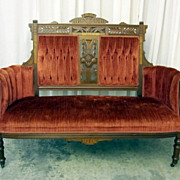 Antique Eastlake Style Settee Loveseat Great Condition Walnut & Nice Upholstery
