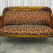 Antique Early 1900s Biedermeier Style Cherry Loveseat Bench Simple Elegance