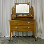 Antique Blond Maple Pennsylvania Dutch Style Vanity w Beveled Mirror Great Cond
