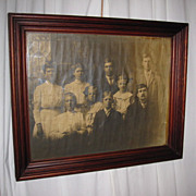 Antique Mahogany Wood Frame w Early 1900s Edwardian Style Family Photograph
