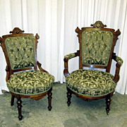 Pair of Antique c1800s Eastlake Style Ladies & Gents Parlor Chairs Near Mint