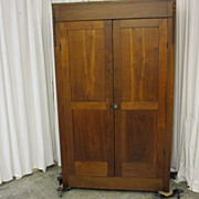 Antique Solid Oak Gentlemans 2 Door Armoire / Wardrobe Spool Carved Trim Nice