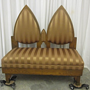 Antique Oak Gothic Deacons Bench with Fresh Gold Upholstery Great Condition