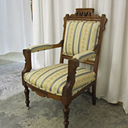 Eastlake Victorian Style Gents Chair Walnut w Fresh Upholstery Extra Nice Cond