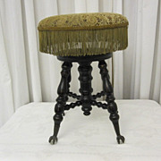 Antique Adjustable Piano Stool Xclnt Condition Chas Parker Co Late 1800's NICE