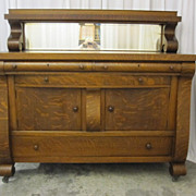 Antique Buffet Server � Sawn Tiger Oak Beautiful Empire Style Bow Front Drawers