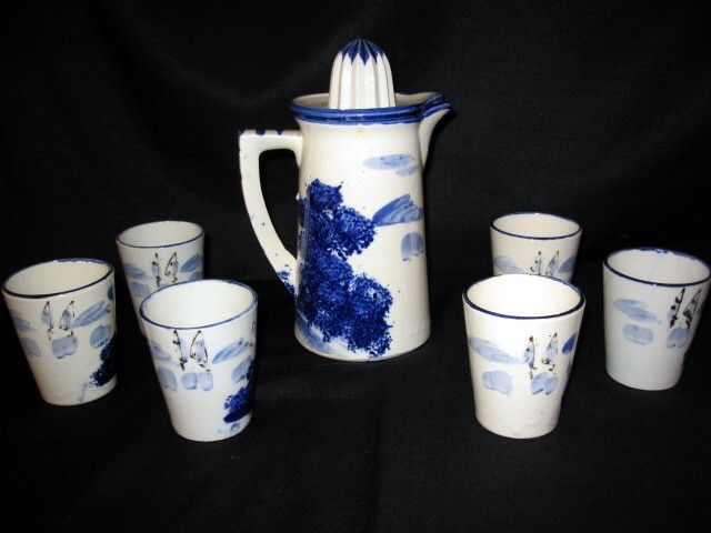 Antique 1920's 7 Pc Lemonade Set w Juicer Pitcher and Tumblers Flow Blue Style
