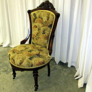 Antique 1800�s Renaissance Revival Style Chair w Fresh Upholstery Extra Nice