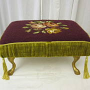 Antique Victorian Style Footstool w Needlepoint Upholstery Burgandy w Gold Trim