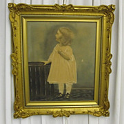 Antique Art Nouveau Style Gold Wall Picture Frame w Antique Childs Portrait NICE