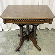 Antique Table Eastlake Victorian Style Walnut Base Marble Top Xnice Condition