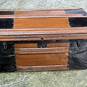 REDUCED Antique Primitive Metal & Wood Trunk w Tray 32x16x16 Tall