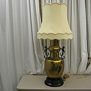 Large & Unusual Nice Brass Table Lamp With Bird Figures