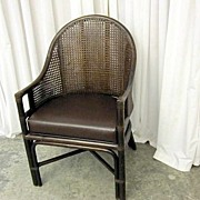 Antique Walnut Bent Wood Wicker Back Barrel Style Chair