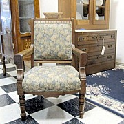 Antique 1800's Eastlake Victorian Arm Chair Exceptional Cond Beautiful Upholstry