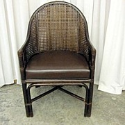 Antique Walnut Wicker Back Barrel Style Chair Bent Wood