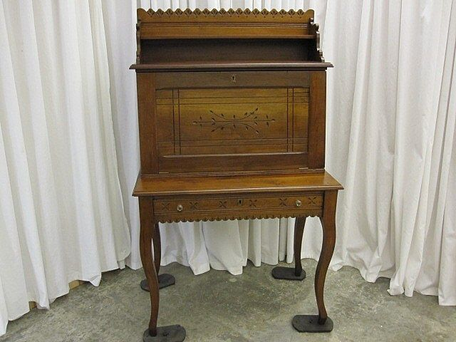 Antique Oak Eastlake Drop Front Plantation Desk w Slots