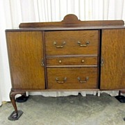 Antique Queen Anne Style 1/4 Sawn Walnut Buffet Server Claw Ball Feet VERY NICE