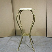 Antique Art Nouveau Marble Top Brass Iron Plant Stand