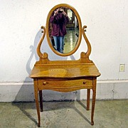 Antique Golden Oak Arts & Crafts Dresser Vanity -Mirror