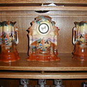 German Porcelain Clock & Vases Made by Meccedes
