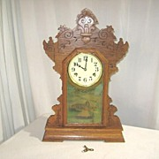 Oak New Haven Kitchen Clock With Reverse Painted Scene