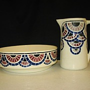 Very Old K&G Pitcher & Bowl Set Luneville, France