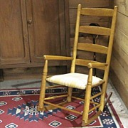 Antique Arts & Crafts Style Ladder Back Rocker with Upholstered Seat in Yellow