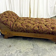 Antique 1800's Chaise Lounger New Upholstery EXTRA NICE