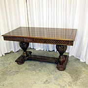 REDUCED Mint Condition Walnut Library Table Heavily Carved Legs