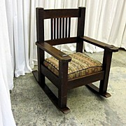 Antique Dark Oak Mission Arts & Crafts Rocking Chair