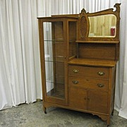 Antique Oak China Buffet w Bevel Mirror Griffon Head