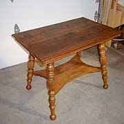 Oak Table With Turned & Fluted Legs And Shelf