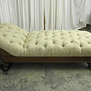 Antique 1800s Chaise Lounger Extra Nice w New Upholster